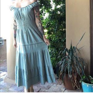 Anthropologie Sleeveless Embroidered Prairie Dress